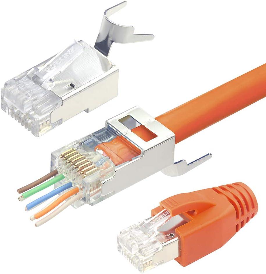 VCELINK 2.ª generación 10 Unidades Conectores RJ45 Cat 7 Cat6A Blindado Pasante Pass Through EZ Para Cable de Red Cat7 Cat6A con Guía y Funda de Cable