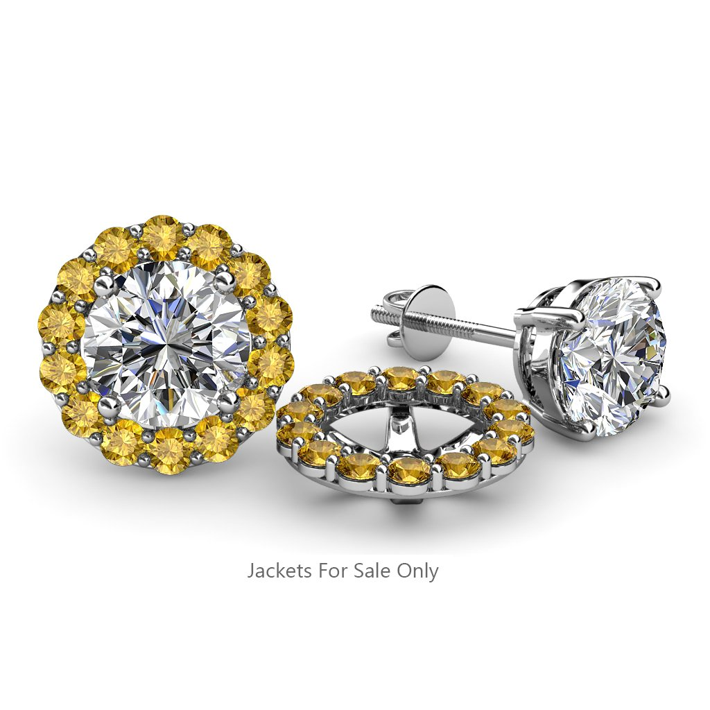 TriJewels Citrine Halo Jacket for Stud Earrings 0.84 cttw in 14K White Gold