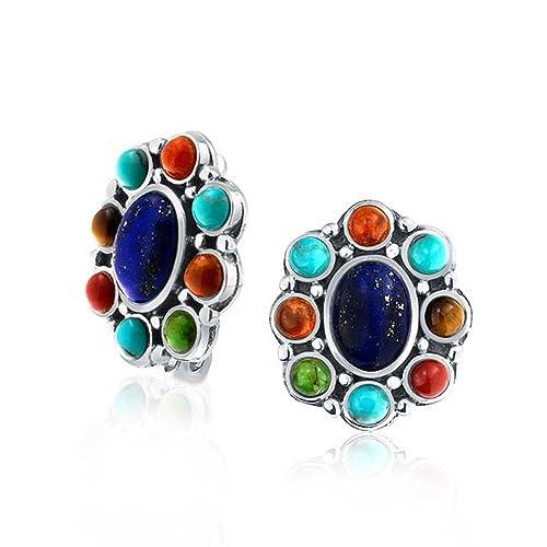 Southwestern Lapis Stabilized Turquoise Multicolor Oval Gemstones Clip On Earrings Non Pierced Ears 925 Sterling Silver