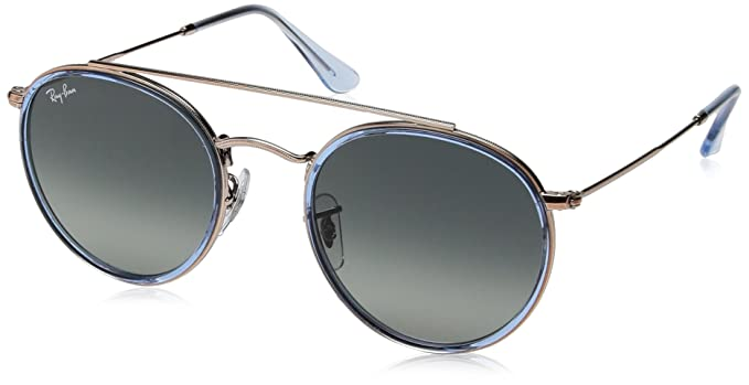 b92472695ae Ray-Ban Round Double Bridge Sunglasses in Copper Blue Gradient RB3647N  90683F 51  Amazon.co.uk  Clothing