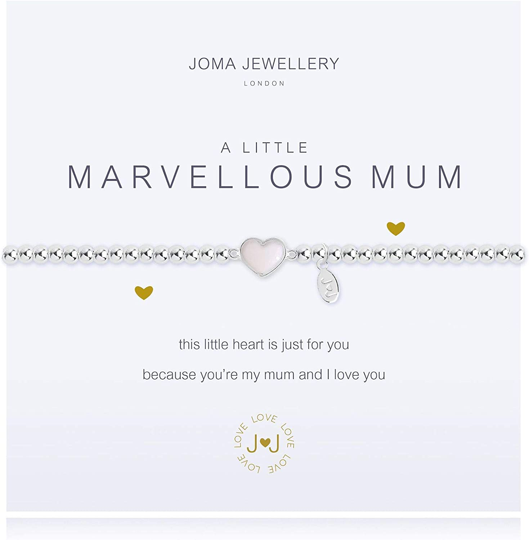 Joma Jewellery Pulsera plateada y tarjeta con mensaje en inglésA Little Marvellous Mum
