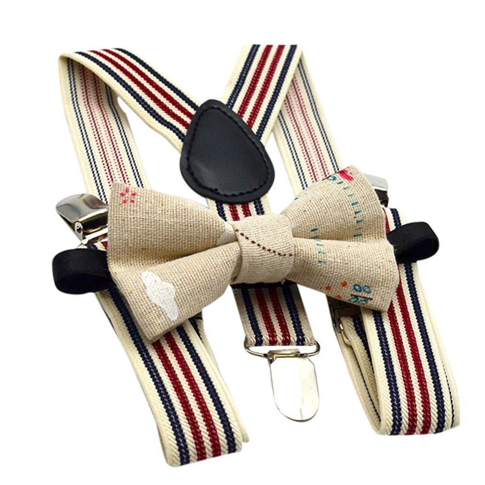 WaiiMak Kids Baby Boys Party Matching Braces Suspenders and Luxury Bow Tie Set (Beige)