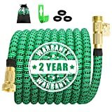 50ft Expandable Garden Hose, Wate Hose with 100% Solid Brass Valve, Flexible Hose can 3X Epandable, Expanding Hose Lightweight Outdoor Gardening Hoses Yard Hose No Kink (12 Months Guarantee)