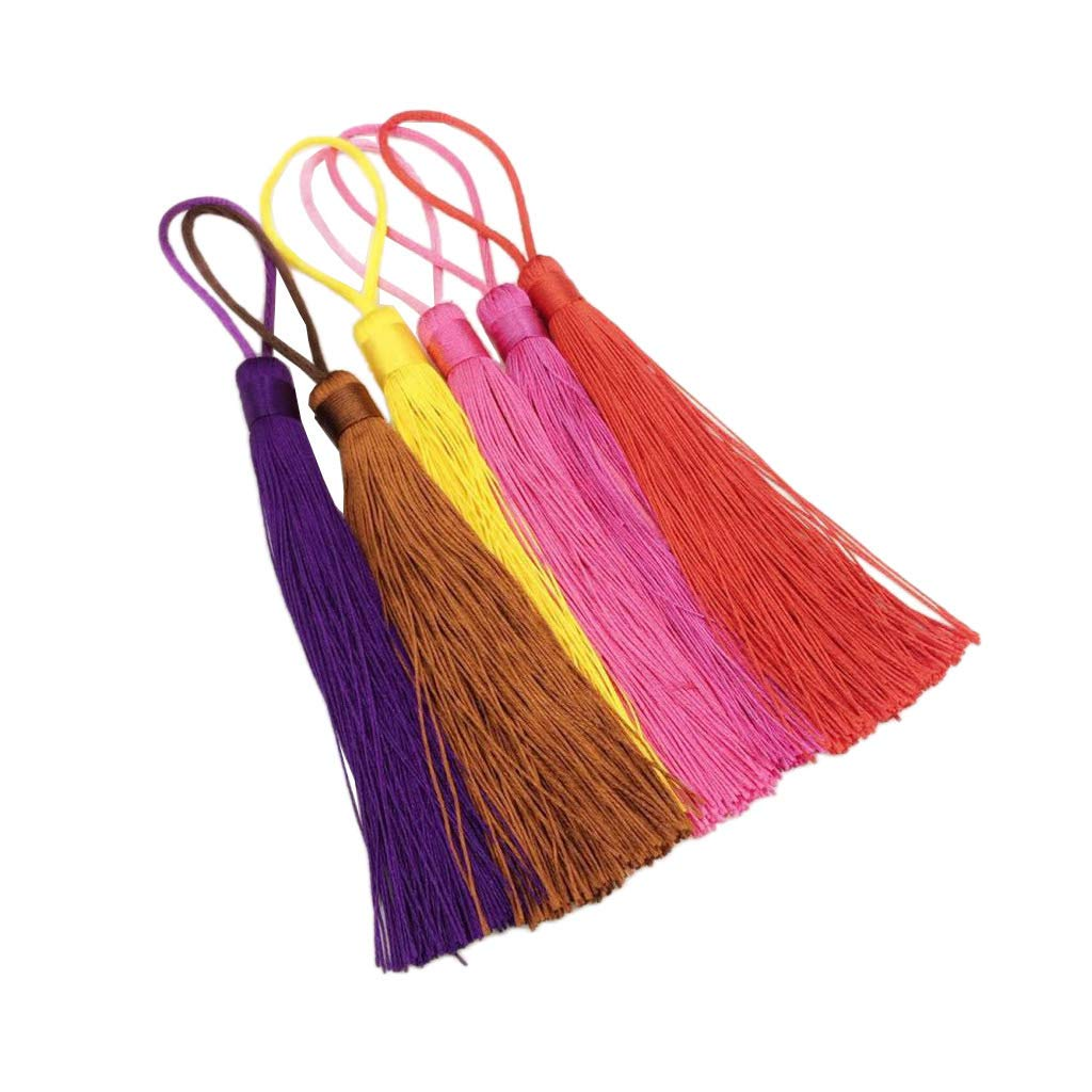 6Pcs Silky 120mm Tassel Cardmaking Bookmark Craft DIY Jewelry Making Pendant