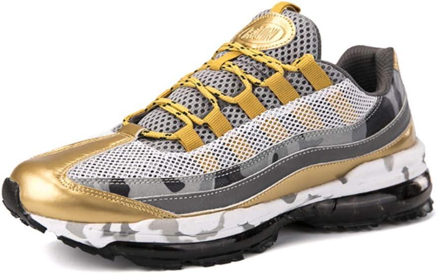 WFWPY Alto para Ayudar a los Zapatos Calzado de Baloncesto Correr Zapatillas Casual Ligeros Transpirable Lace Up Calzado Deportivo Al Aire Libre para Hombre,Oro,US7/EU39: Amazon.es: Hogar