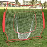 Globe House Products GHP Red 7'x7'x3.5' Baseball Softball Portable Tear-Resistant Batting Practice Net