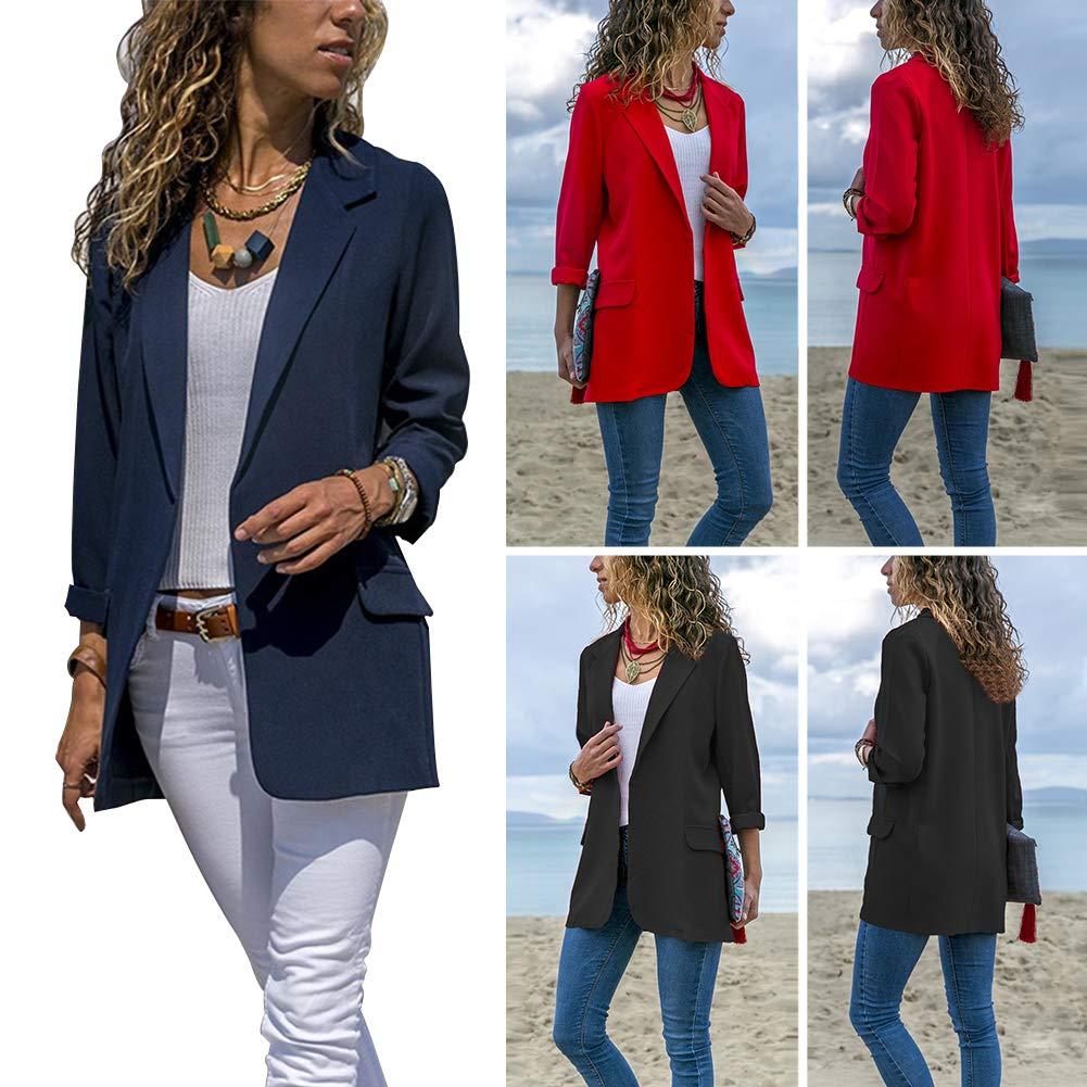 stile casual aderente colletto rivolto a maniche lunghe Giacca da donna a tinta unita nero Nero  M ideale per autunno e primavera