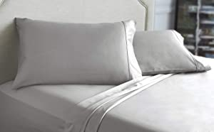 WestPoint Home 1800 Thread Count Cotton King Silver Pillowcase Pair