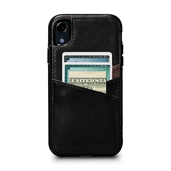 buy online dd243 4917d Amazon.com: Sena Cases, Deen Lugano Leather Snap On Wallet iPhone XR ...