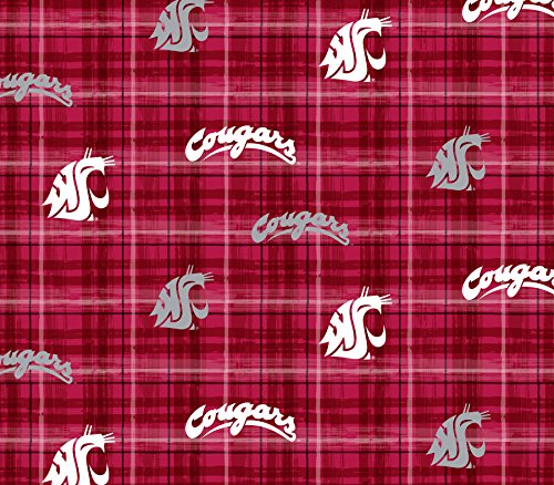 WASHINGTON STATE COUGARS COTTON FABRIC-Plaid Print-100% cotton college fabric by SYKEL ()