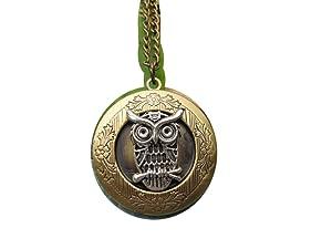Owl Locket, brass locket, small locket, owl jewellery, bird locket, owl necklace