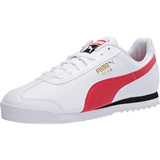 PUMA Roma Basic Sneaker, White-High Risk Red, 8.5 M US