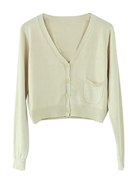Begonia.K Women's Cropped Cardigan Sweater Long Sleeve Short ...