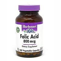 Bluebonnet Folic Acid 800 mcg Vegetable Capsules, 180 Count
