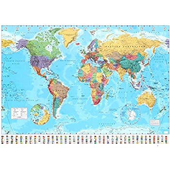 Amazon gb eye world map poster posters prints laminated world map 2015 giant poster 55 x 39in gumiabroncs Images
