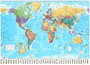 World Map 2015 Giant Poster 55 x 39in with Poster Hanger