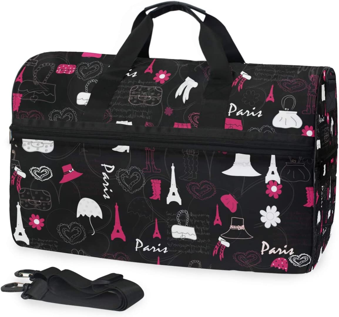 AHOMY Cute Eiffel Tower Hat Sports Gym Bag with Shoes Compartment Travel Duffel Bag