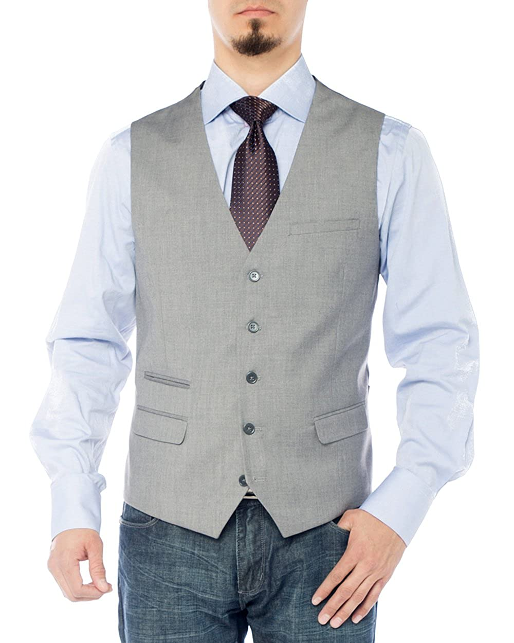 f2b09c3bfdb GN GIORGIO NAPOLI Men s Modern Fit Vest Dress Suits Waistcoat for Suit  Tuxedo at Amazon Men s Clothing store