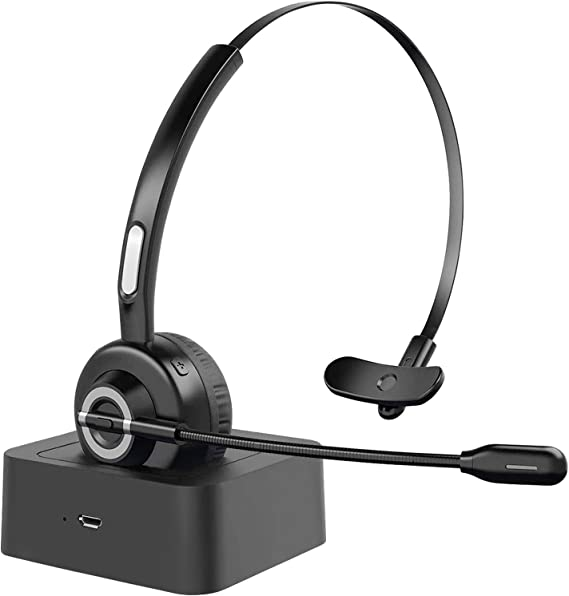 Amazon Com Trucker Bluetooth Headset With Microphone And Charging Station Bluetooth Headphones Wireless Headset Noise Cancelling Mic On Ear Bluetooth Headset Bluetooth 5 0 34h For Office Home Class Online Pc