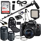 Canon EOS Rebel T6i DSLR Camera Deluxe Video Kit with Canon EF-S 18-55mm & 55-250mm STM Lenses +Shotgun Microphone Fishing Boom Pole + SanDisk 64GB SD Memory Card + Accessory Bundle