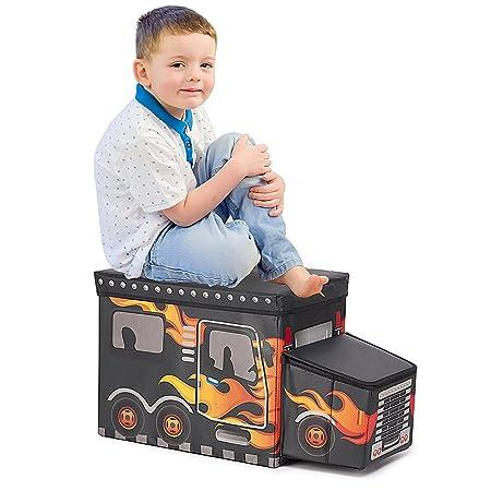 BigTree Kids Toy Box Storage Seat Black Large Boys Girls Folding Toy Chest  Car Shape (