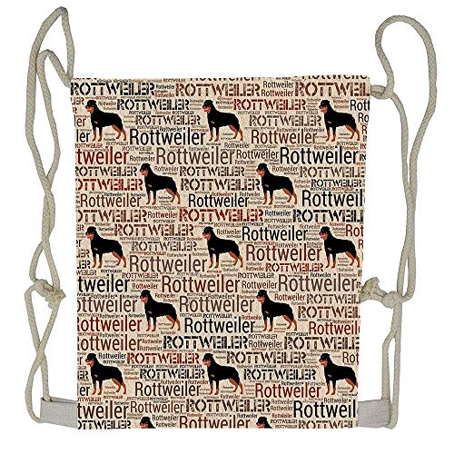 AoshangGardeflag Rottweiler Silhouette And Word Art Pattern Gym Bags Drawstring Bag Storage Pouch Multi-functional Bag
