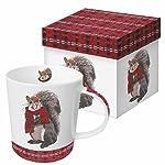 Paperproducts Design Gift Boxed Porcelain Mug, 13.5 oz, Plaid Spencer Squirrel, Multicolor