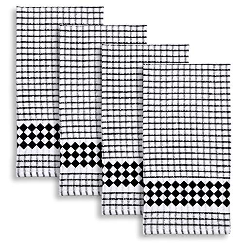 (Cackleberry Home Diamond Border Windowpane Check Cotton Terrycloth Kitchen Towels, Set of 4 (Black))