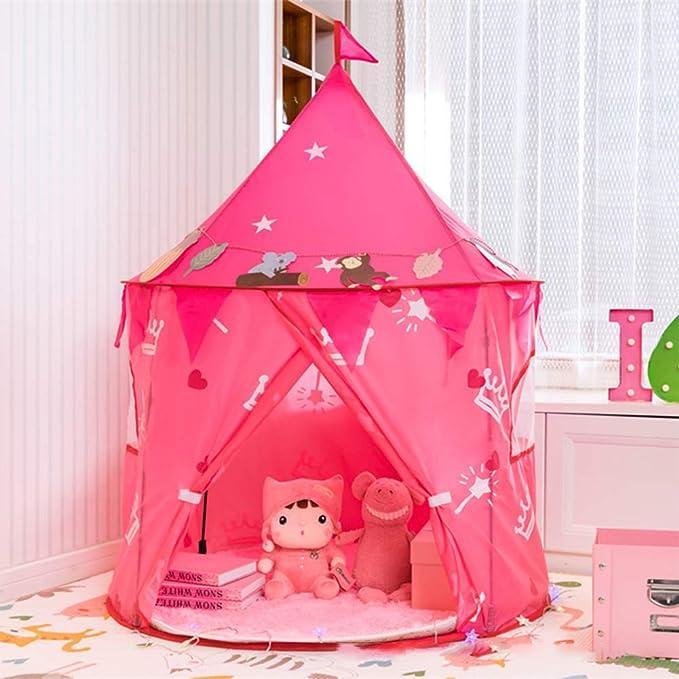 GJF Kinderspielzelt Spielzeug Prinzessin Schloss wasserdicht Kinderspielhaus Geschenk für Kinder Indoor Outdoor Spiele Picknick Ausflug Kinderzelt (3-8 Jahre alt) +-Powder-Large