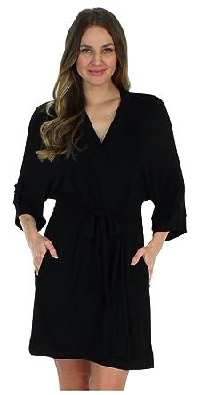 cf1f77f488 Pajama Heaven Women s Sleepwear Lightweight Bamboo Jersey Short Wrap Robe  with Pockets