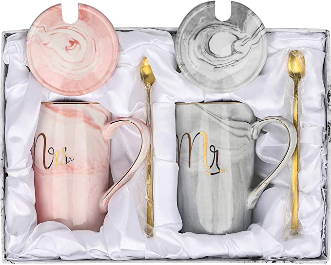 Coffee Mugs Cups GIFT SET for Mr and Mrs Engagement Wedding Couple Ceramic Black