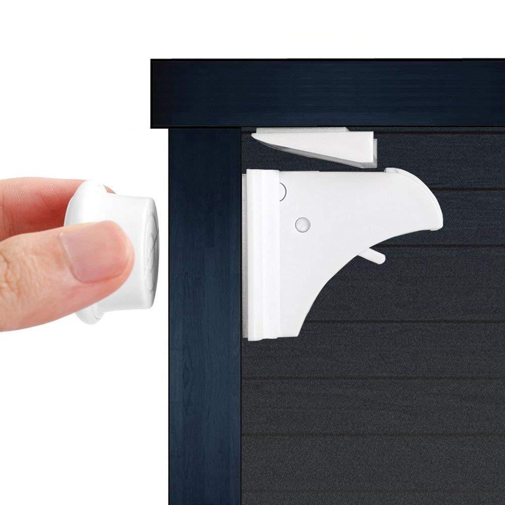 ベビー子供磁気キャビネットロック( 6 + 2キー+テーブルコーナープロテクター( 4 ) +コンセントカバー( 5 )。Babyproof安全セットwith 3 M Adhesive – 目立たない、ドリルフリーツールまたはネジ必要ない   B01M223RDG