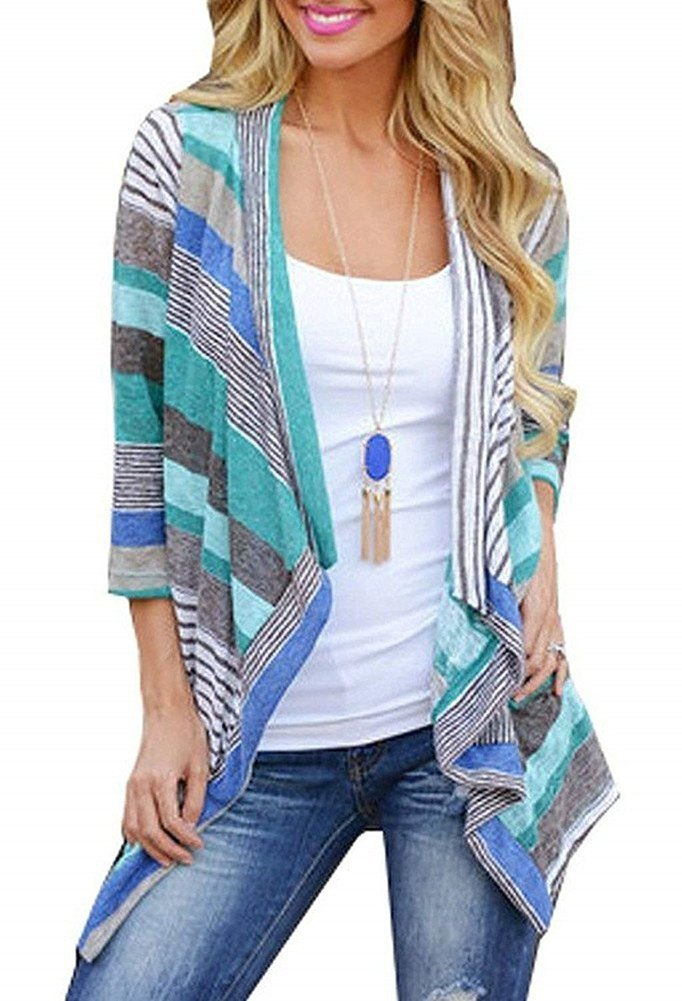 BISHUIGE Women's 3/4 Sleeve Striped Printed Cardigans Open Front Plus Size Kimono Loose Cardigan Sweaters Blue X-Large