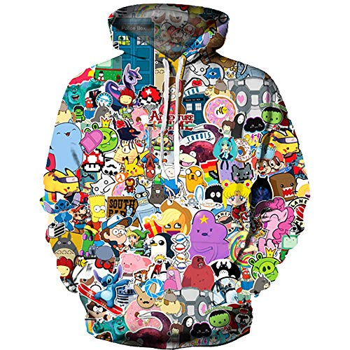 OYABEAUTY Boys' Teen 3D Print Graphic Sweatshirts Long Sleeve Pullover Hoodies with Pocket(XX-Large(11-14 Years/145-155cm),Cartoon B)