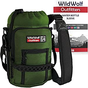 Wild Wolf Outfitters - Green Water Bottle Holder for 64 oz Bottles - Carry, Protect and Insulate Your Best Flask with This Military Grade Carrier w/ 2 Pockets and an Adjustable Padded Shoulder Strap.