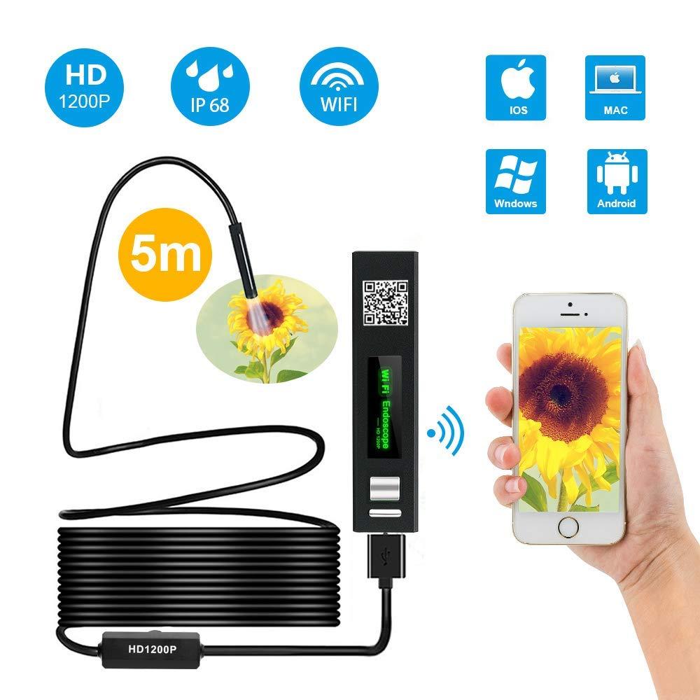 WiFi Endoscopio, KATUMO® Endoscopio Impermeabile IP68 Ispezione Snake Camera, 8 LED Luminosità Regolabile, 2.0 Megapixel 1200P HD Full Ispezione Camera per Android e IOS Iphone/ Windows/ Mac/ Tablet PC, (5 Metri/16.4ft)