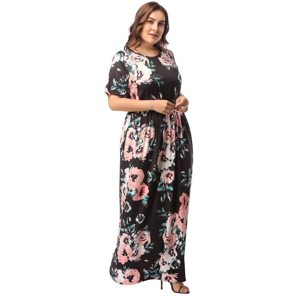 TALLA (EU58-60)4XL. Lover-Beauty Vestido Largo Mujer Talla Grande Moda Bolsillo Top Falda para Fiesta Verano Manga Corta Floral Estampada Suleto Moda de Ropa Elegante Maxi Negro Floral 3 (EU58-60)4XL