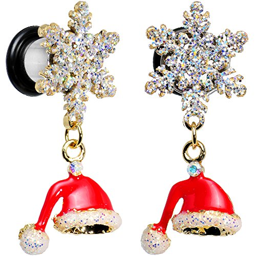 Body Candy Steel Clear Accent Snowflake Santa Hat Christmas Single Flare Dangle Plug Set 0 - Christmas Hat Candy
