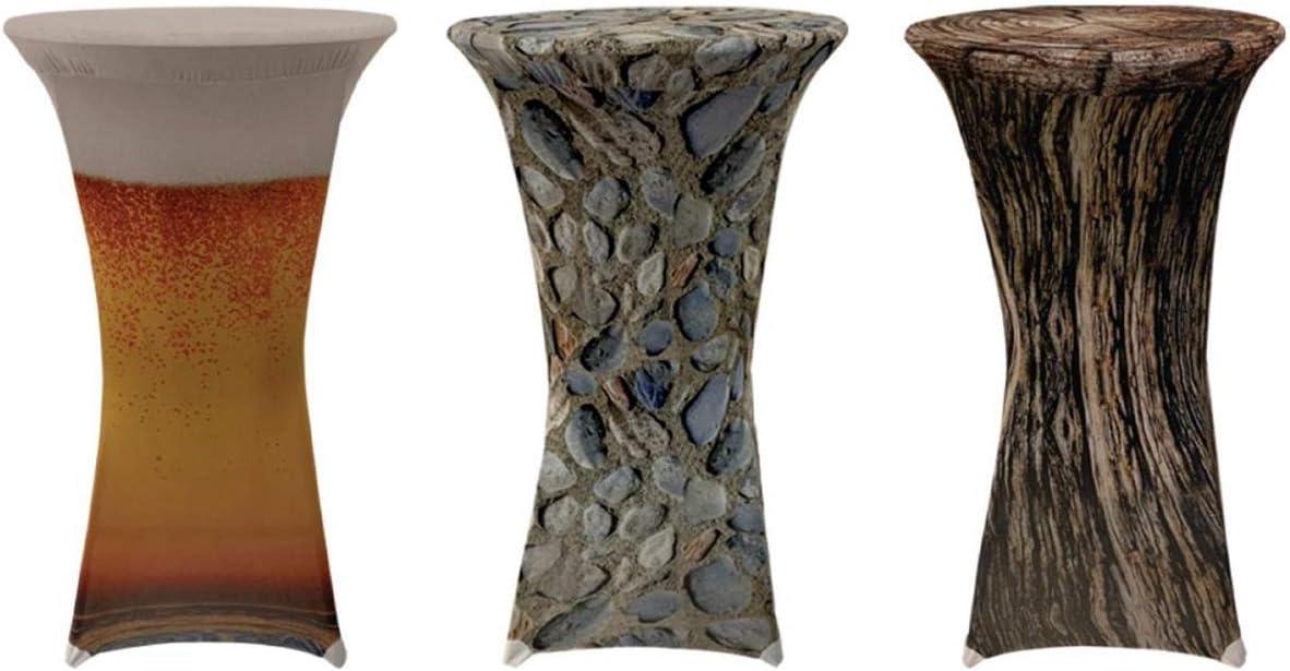 Exclusiva funda elástica para mesa alta con 4 reposapiés., poliéster, Tronco de árbol., Ø 70x120 cm