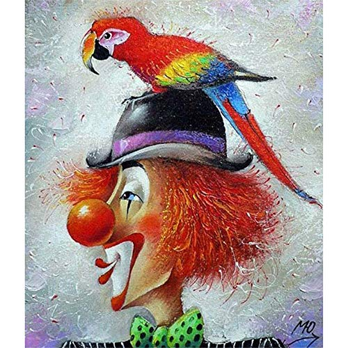 DIY Oil Paint by Number Kit for Adults Beginner 16x20 Inch - Colorful Parrot and Clown,Drawing with Brushes Christmas Decor Decorations Gifts (Framed)