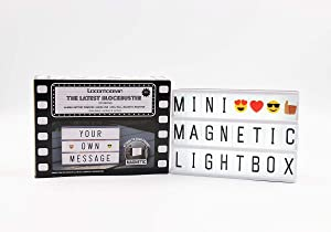 Locomocean Black Mini A6 Magnetic Cinematic Light Box with 82 Characters and 10 Emojis, USB Power or Battery Operated
