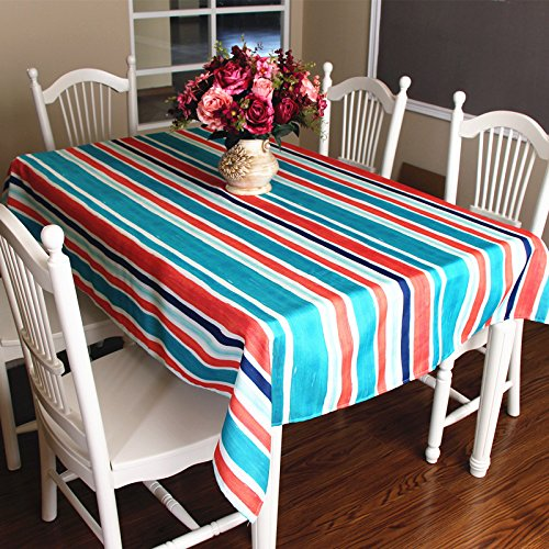 (Soul&Heart Blue Red and Blue Stripe Theme Polyester Table cloth Line Tablecloth Terylene Table Cover Wipe Clean Waterproof Oilproof Mildewproof Skidproof Stain resistant (55 x 87 Inch, 140 x 220CM))