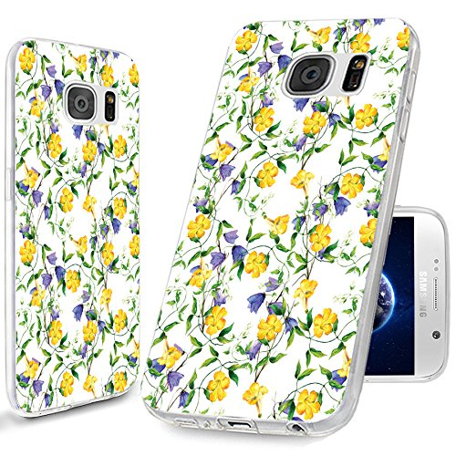 - S7 Case,Galaxy S7 Case, ChiChiC [Elegant Series] Full Protective Case Slim Flexible Soft TPU Gel Rubber Cases Cover Skin for Samsung Galaxy S7,yellow purple flower on white background