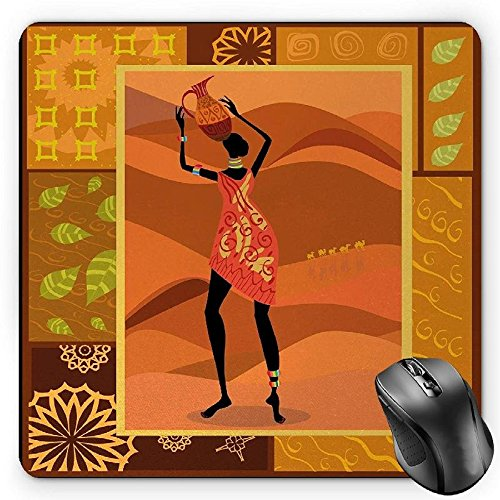 BGLKCS African Woman Mouse Pad, Frame with Natural Autumn Elements Native Girl with Vase Exotic Zulu Print, Standard Size Rectangle Non-Slip Rubber Mousepad, Multicolor -