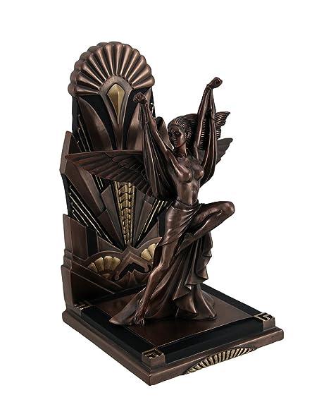 Resin Decorative Bookends The Winged Woman Metallic Copper Finish Art Deco  Single Bookend Statue 5.5 X