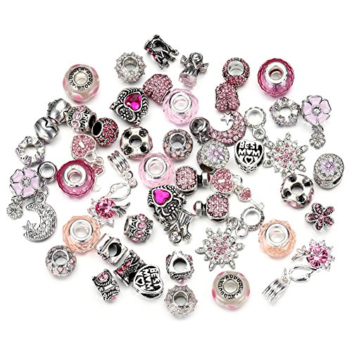 (Pansona 10 Colors Assorted Silver Tone Charms Rhinestones Bead Charms Murano Glass Beads and Spacers Pack of 50 (Pink))