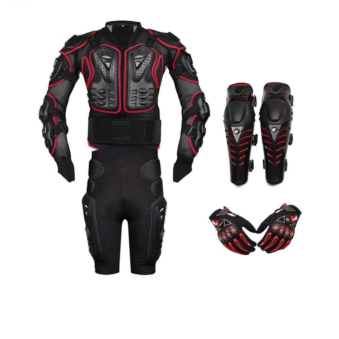 Motorcycle Body Armor Protection Motorcycle Jacket+Shorts Pants+Protective Gear Knee Pads+Gloves Red A4 Set XXXL