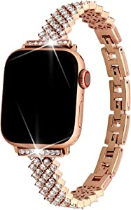 Luxury High-End For Apple Watch Band 44mm/42mm Series 6/SE/5/4/3,Falandi Large zircons Bling Rhinestone Diamonds Stainless Steel Smart Watch Replacement Bands iWatch Bracelet Women(Rose Gold,44mm)