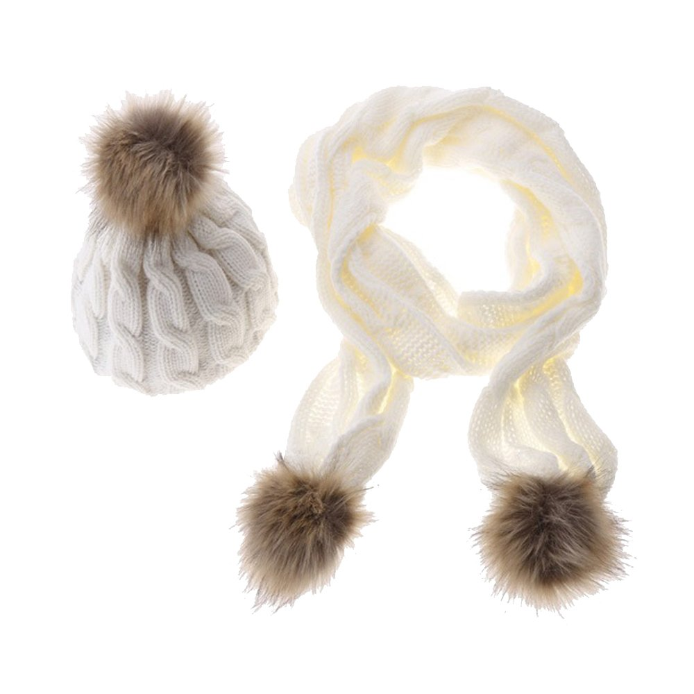 Two Pieces of Knit Hat and Scarves with Fuzzy Ball Twist Knitting Shawls for Girls and Women