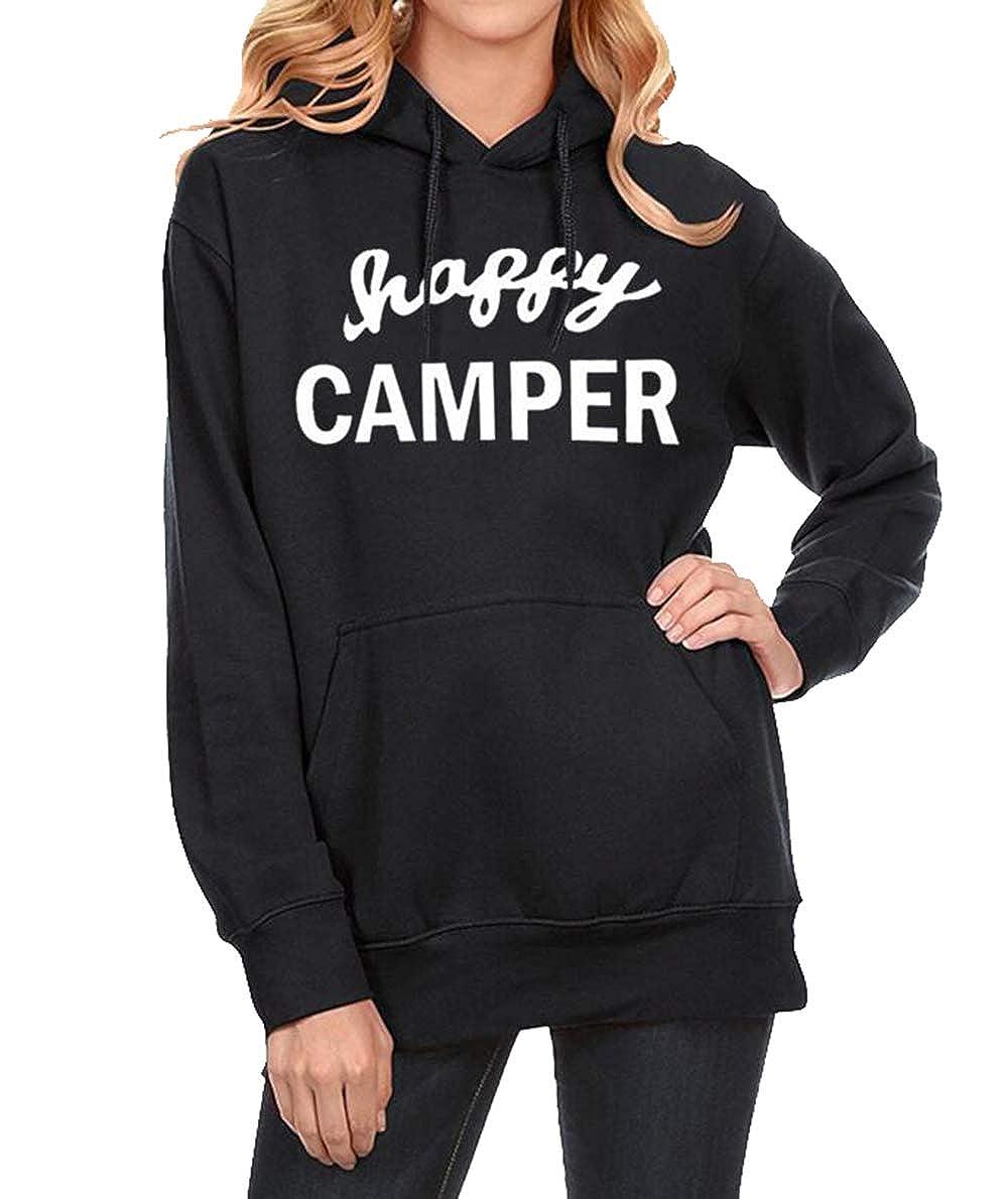 MNLYBABY Women Happy Camper Hoodies Casual Long Sleeve Kangaroo Pocket Pullover Sweatshirts